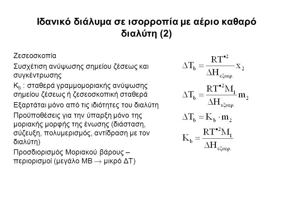 Ιδανικό διάλυμα σε ισορροπία με αέριο καθαρό διαλύτη (2) Ζεσεοσκοπία Συσχέτιση ανύψωσης σημείου ζέσεως και συγκέντρωσης Κ b : σταθερά γραμμομοριακής ανύψωσης σημείου ζέσεως ή ζεσεοσκοπική σταθερά Εξαρτάται μόνο από τις ιδιότητες του διαλύτη Προϋποθέσεις για την ύπαρξη μόνο της μοριακής μορφής της ένωσης (διάσταση, σύζευξη, πολυμερισμός, αντίδραση με τον διαλύτη) Προσδιορισμός Μοριακού βάρους – περιορισμοί (μεγάλο ΜΒ  μικρό ΔΤ)