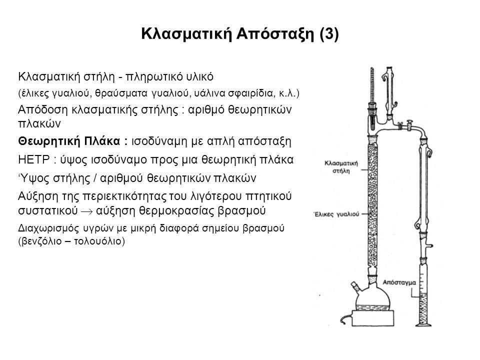 Κλασματική Απόσταξη (3) Κλασματική στήλη - πληρωτικό υλικό (έλικες γυαλιού, θραύσματα γυαλιού, υάλινα σφαιρίδια, κ.λ.) Απόδοση κλασματικής στήλης : αριθμό θεωρητικών πλακών Θεωρητική Πλάκα : ισοδύναμη με απλή απόσταξη HETP : ύψος ισοδύναμο προς μια θεωρητική πλάκα 'Υψος στήλης / αριθμού θεωρητικών πλακών Αύξηση της περιεκτικότητας του λιγότερου πτητικού συστατικού  αύξηση θερμοκρασίας βρασμού Διαχωρισμός υγρών με μικρή διαφορά σημείου βρασμού (βενζόλιο – τολουόλιο)
