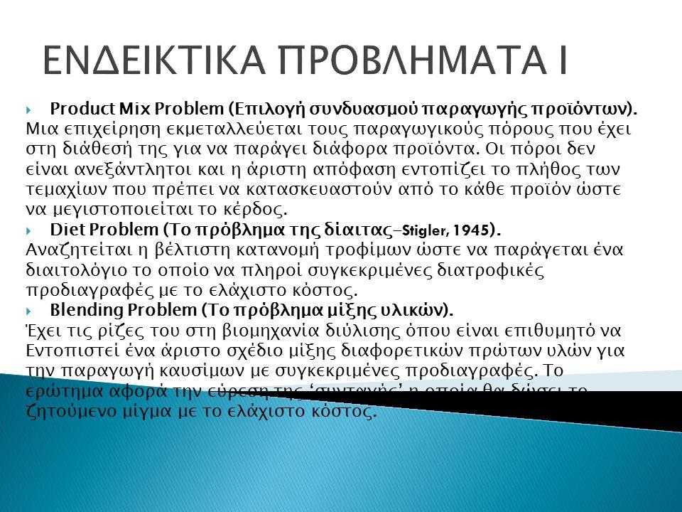 ΕΝΔΕΙΚΤΙΚΑ ΠΡΟΒΛΗΜΑΤΑ Ι  Product Mix Problem (Επιλογή συνδυασμού παραγωγής προϊόντων).