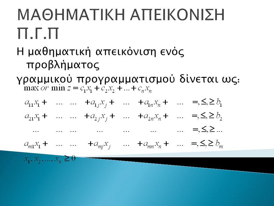 ΜΑΘΗΜΑΤΙΚΗ ΑΠΕΙΚΟΝΙΣΗ Π.Γ.Π Η μαθηματική απεικόνιση ενός προβλήματος γραμμικού προγραμματισμού δίνεται ως :