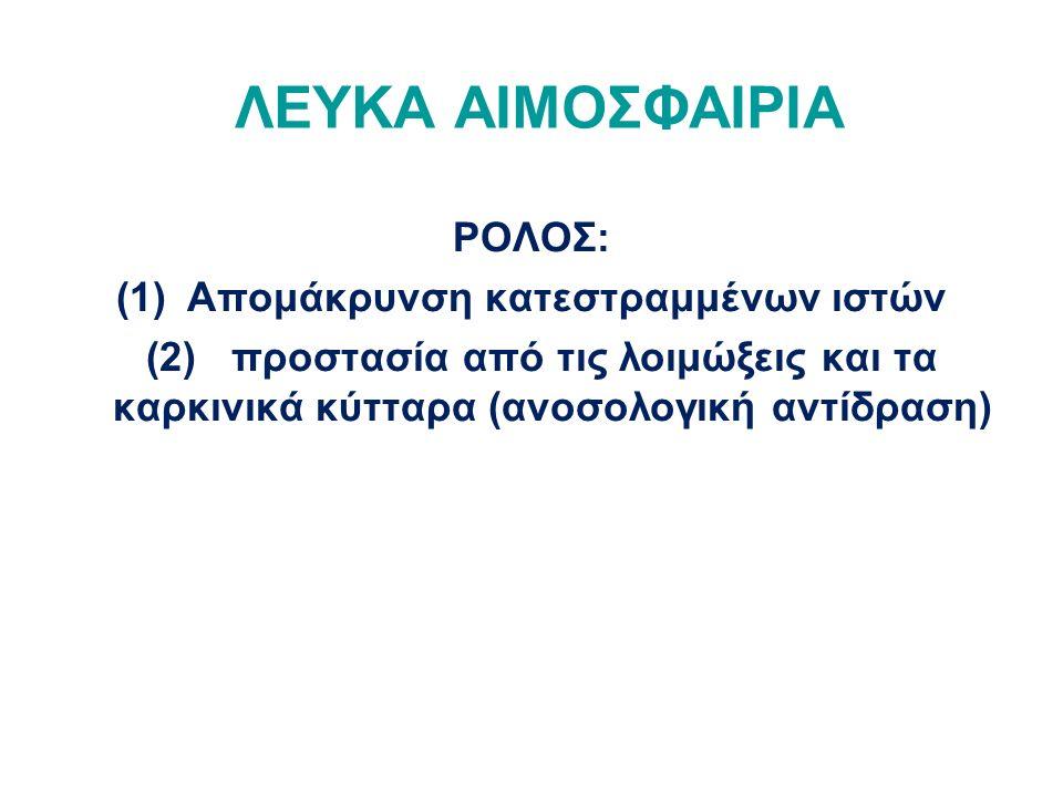 ΡΟΛΟΣ: (1)Απομάκρυνση κατεστραμμένων ιστών (2) προστασία από τις λοιμώξεις και τα καρκινικά κύτταρα (ανοσολογική αντίδραση)