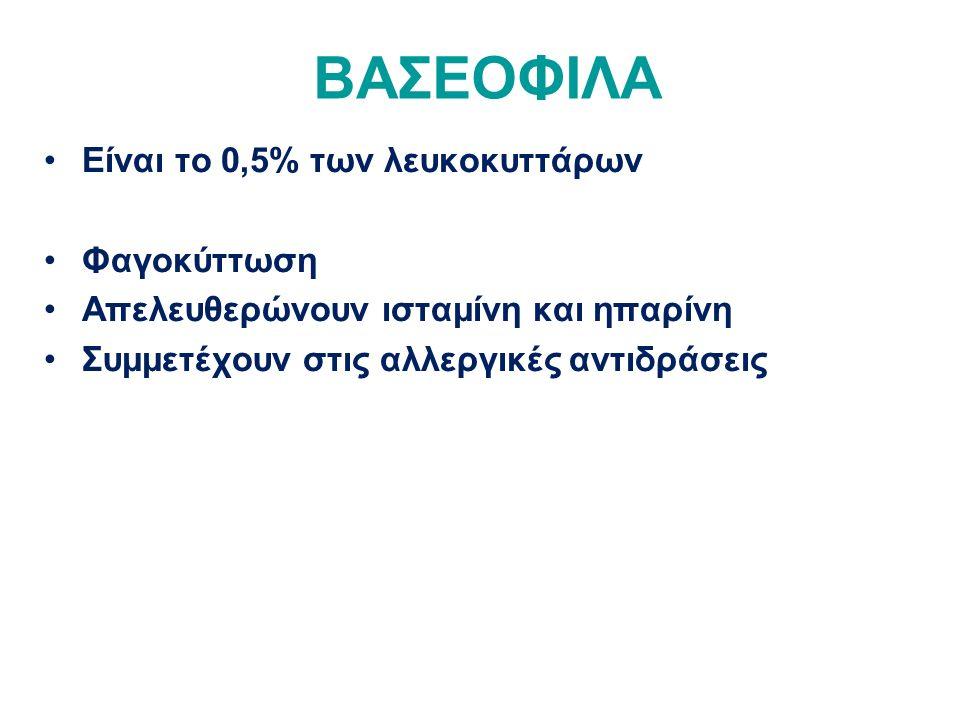 ΒΑΣΕΟΦΙΛΑ Είναι το 0,5% των λευκοκυττάρων Φαγοκύττωση Απελευθερώνουν ισταμίνη και ηπαρίνη Συμμετέχουν στις αλλεργικές αντιδράσεις