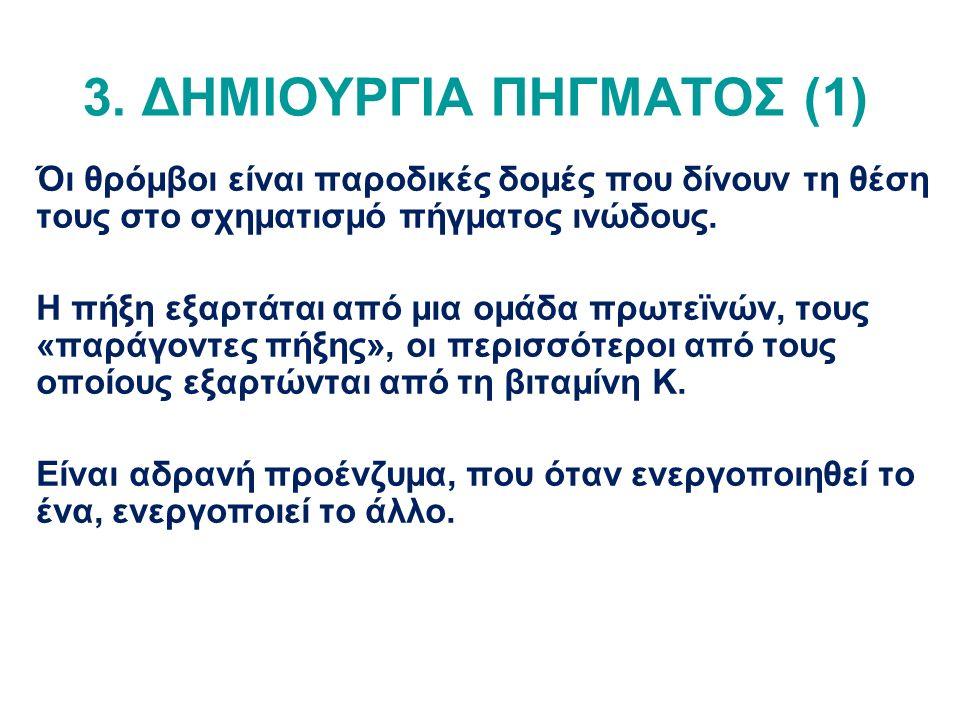 3. ΔΗΜΙΟΥΡΓΙΑ ΠΗΓΜΑΤΟΣ (1) Όι θρόμβοι είναι παροδικές δομές που δίνουν τη θέση τους στο σχηματισμό πήγματος ινώδους. Η πήξη εξαρτάται από μια ομάδα πρ