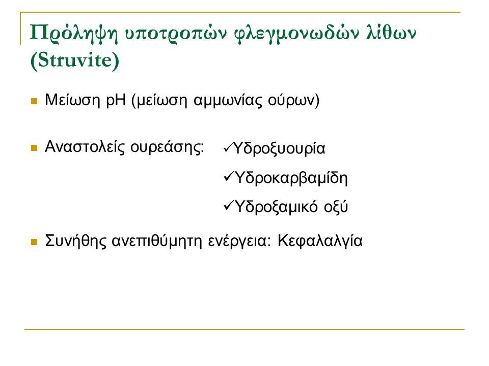 Πρόληψη υποτροπών φλεγμονωδών λίθων (Struvite) Μείωση pH (μείωση αμμωνίας ούρων) Αναστολείς ουρεάσης: Συνήθης ανεπιθύμητη ενέργεια: Κεφαλαλγία Υδροξυο