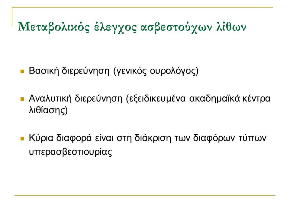 Μεταβολικός έλεγχος ασβεστούχων λίθων Βασική διερεύνηση (γενικός ουρολόγος) Αναλυτική διερεύνηση (εξειδικευμένα ακαδημαϊκά κέντρα λιθίασης) Κύρια διαφ
