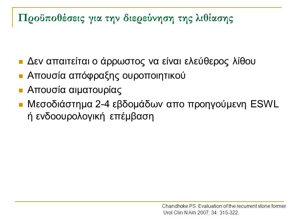 Θεραπεία-πρόληψη λιθίασης κυστίνης Επίτευξη διούρησης >3000mls/24hr (απαιτείται κατανάλωση >150mls/hr υγρών) Αλκαλοποίηση των ούρων με κιτρικό κάλιο για επίτευξη pH >7.5 Όταν συγκέντρωση κυστίνης <3-3.5mmol/24hr τότε ασκορβικό οξύ (3-5gr/24hr) Όταν συγκέντρωση κυστίνης >3.5mmol/24hr τότε Thiola (250-2000mg/24hr) ή Καπτοπρίλη (75-150mg/24hr) EAU Guidelines Lithiasis