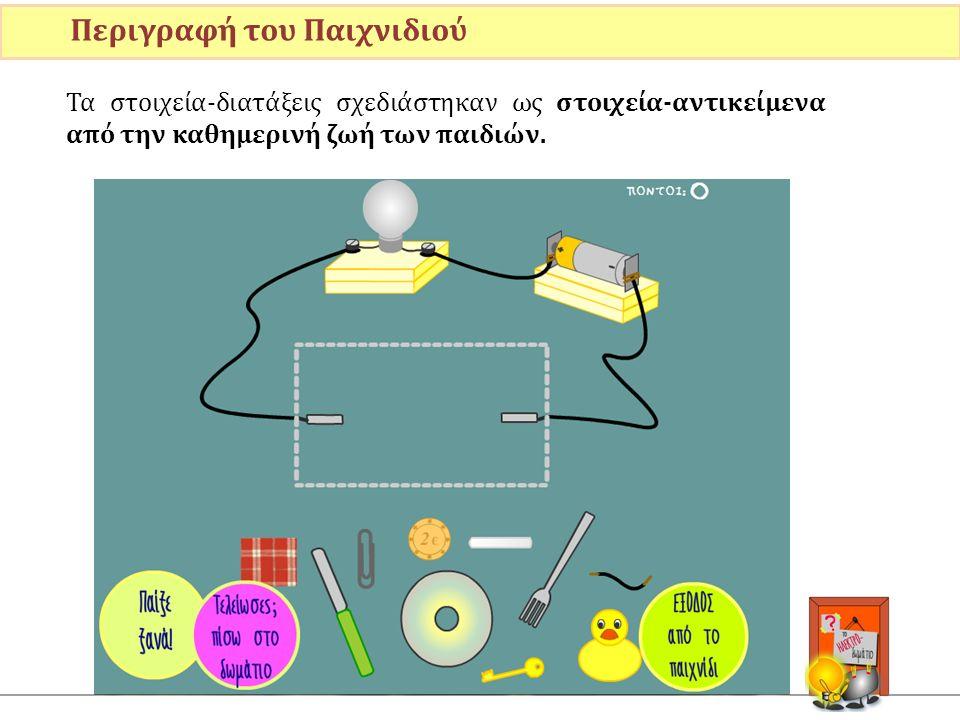 Τα στοιχεία-διατάξεις σχεδιάστηκαν ως στοιχεία-αντικείμενα από την καθημερινή ζωή των παιδιών. Περιγραφή του Παιχνιδιού