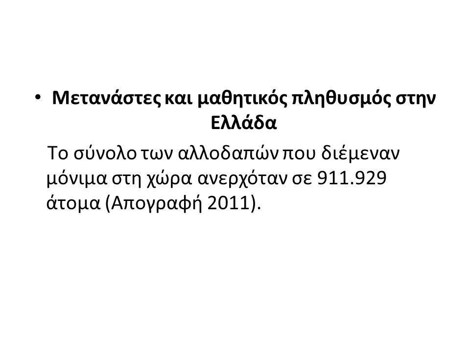 Μετανάστες και μαθητικός πληθυσμός στην Ελλάδα Tο σύνολο των αλλοδαπών που διέμεναν μόνιμα στη χώρα ανερχόταν σε 911.929 άτομα (Απογραφή 2011).