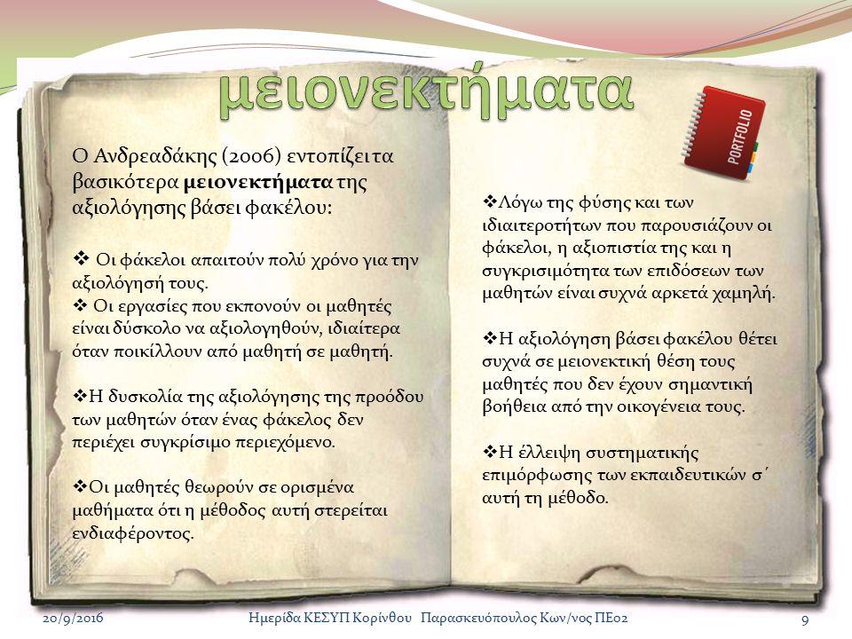 http://www.scribd.com/doc/63414190/%CE% 9F%CE%99-CE%A5-PORTFOLIO http://eduportfolio.org/ http://www.mustmag.gr/arthra/paideia/6134- aksiologhsh-mathiton http://mahara.e- skills.com.au/view/view.php?id=843 http://sdoukakis.files.wordpress.com/2011/03 /galanou.pdf http://www.web-resources.eu/archives/create- your-own-online-portfolio http://sdoukakis.wordpress.com/http://sdoukakis.wordpress.com/ Αρθρα για το portfolio http://users.sch.gr/pantala/-portfolio- http://economu.wordpress.come-portfolio/ (http://economu.wordpress.come-portfolio/ (Συνολική παρουσίαση του e-portfolio) http://digitalschool.minedu.gov.gr/modu les/ebook/show.php/DSGYM- C111/72/589,2050/ 20/9/201610Ημερίδα ΚΕΣΥΠ Κορίνθου Παρασκευόπουλος Κων/νος ΠΕ02 http://e-portfolio.sch.gr/mahara http:///oepek_1.pdf http://kesyp.flo.sch.gr11_fotiadou_128_139.