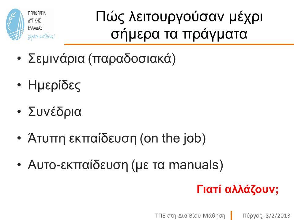 ΤΠΕ στη Δια Βίου ΜάθησηΠύργος, 8/2/2013 Πώς λειτουργούσαν μέχρι σήμερα τα πράγματα Σεμινάρια (παραδοσιακά) Ημερίδες Συνέδρια Άτυπη εκπαίδευση (on the job) Αυτο-εκπαίδευση (με τα manuals) Γιατί αλλάζουν;