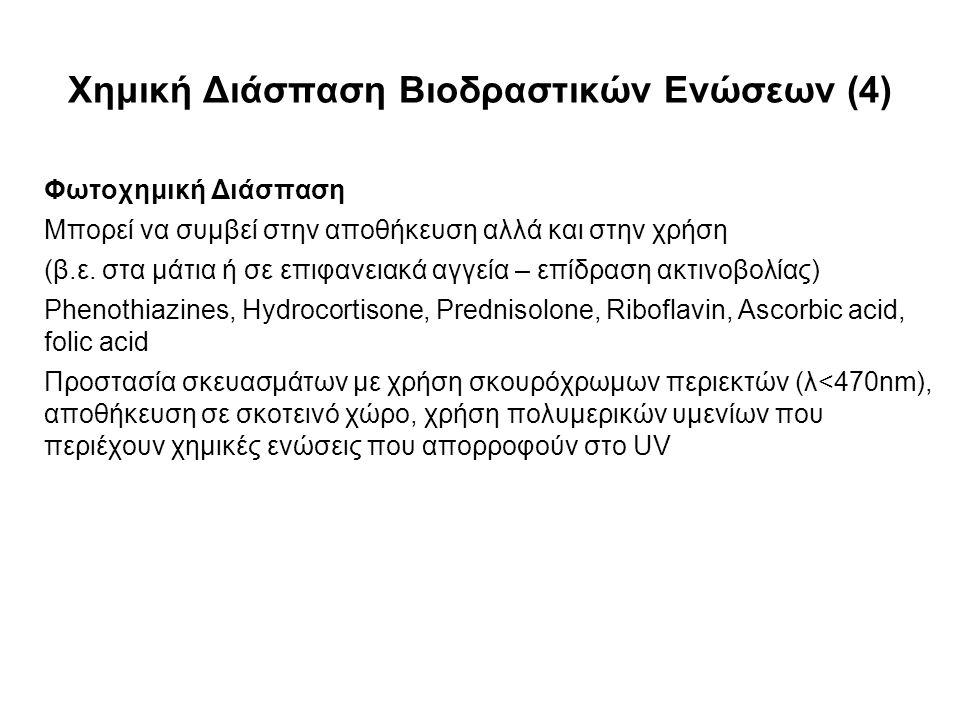 Φωτοχημική Διάσπαση Μπορεί να συμβεί στην αποθήκευση αλλά και στην χρήση (β.ε.