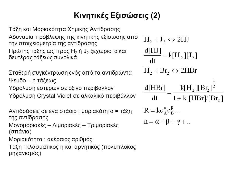 Κινητικές Εξισώσεις (2) Τάξη και Μοριακότητα Χημικής Αντίδρασης Αδυναμία πρόβλεψης της κινητικής εξίσωσης από την στοιχειομετρία της αντίδρασης Πρώτης τάξης ως προς Η 2 ή J 2 ξεχωριστά και δευτέρας τάξεως συνολικά Σταθερή συγκέντρωση ενός από τα αντιδρώντα Ψευδο – n τάξεως Υδρόλυση εστέρων σε όξινο περιβάλλον Υδρόλυση Crystal Violet σε αλκαλικό περιβάλλον Αντιδράσεις σε ένα στάδιο : μοριακότητα = τάξη της αντίδρασης Μονομοριακές – Διμοριακές – Τριμοριακές (σπάνια) Μοριακότητα : ακέραιος αριθμός Τάξη : κλασματικός ή και αρνητικός (πολύπλοκος μηχανισμός)