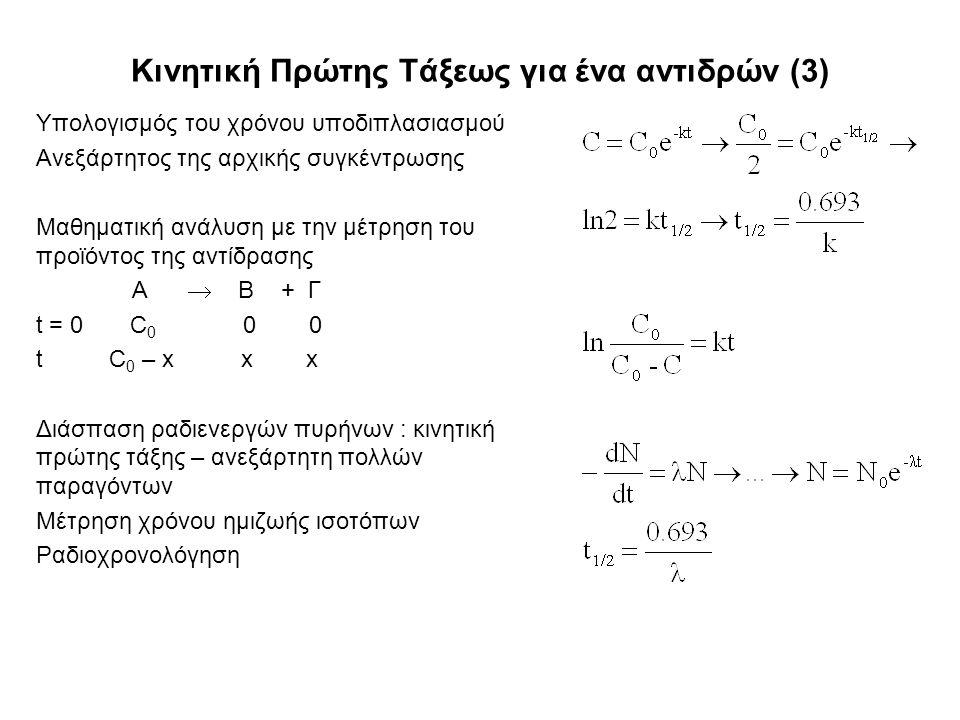 Κινητική Πρώτης Τάξεως για ένα αντιδρών (3) Υπολογισμός του χρόνου υποδιπλασιασμού Ανεξάρτητος της αρχικής συγκέντρωσης Μαθηματική ανάλυση με την μέτρηση του προϊόντος της αντίδρασης Α  Β + Γ t = 0 C 0 0 0 t C 0 – x x x Διάσπαση ραδιενεργών πυρήνων : κινητική πρώτης τάξης – ανεξάρτητη πολλών παραγόντων Μέτρηση χρόνου ημιζωής ισοτόπων Ραδιοχρονολόγηση