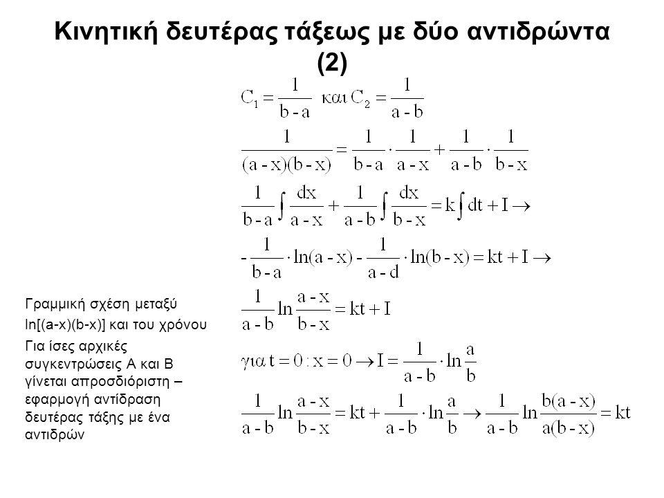 Κινητική δευτέρας τάξεως με δύο αντιδρώντα (2) Γραμμική σχέση μεταξύ ln[(a-x)(b-x)] και του χρόνου Για ίσες αρχικές συγκεντρώσεις Α και Β γίνεται απροσδιόριστη – εφαρμογή αντίδραση δευτέρας τάξης με ένα αντιδρών