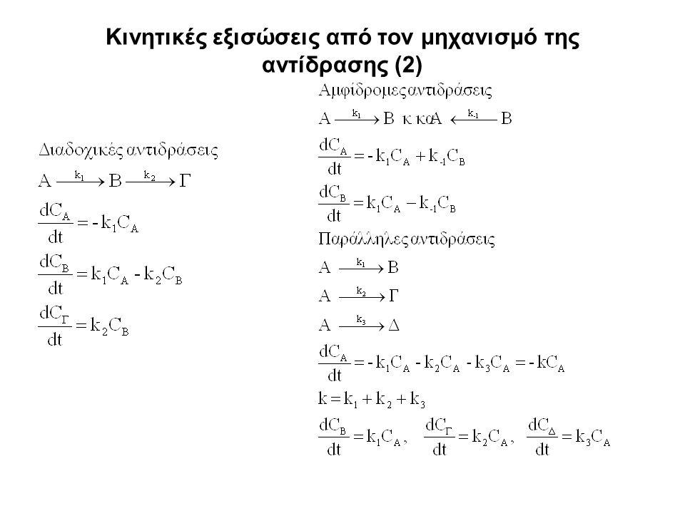 Κινητικές εξισώσεις από τον μηχανισμό της αντίδρασης (2)