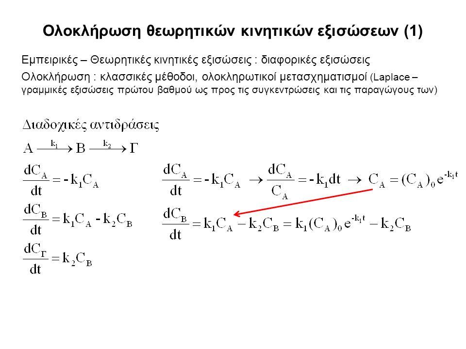 Ολοκλήρωση θεωρητικών κινητικών εξισώσεων (1) Εμπειρικές – Θεωρητικές κινητικές εξισώσεις : διαφορικές εξισώσεις Ολοκλήρωση : κλασσικές μέθοδοι, ολοκληρωτικοί μετασχηματισμοί (Laplace – γραμμικές εξισώσεις πρώτου βαθμού ως προς τις συγκεντρώσεις και τις παραγώγους των)