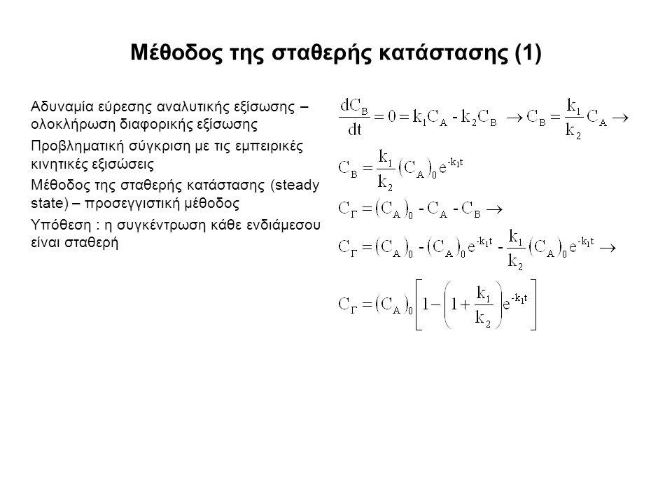 Μέθοδος της σταθερής κατάστασης (1) Αδυναμία εύρεσης αναλυτικής εξίσωσης – ολοκλήρωση διαφορικής εξίσωσης Προβληματική σύγκριση με τις εμπειρικές κινητικές εξισώσεις Μέθοδος της σταθερής κατάστασης (steady state) – προσεγγιστική μέθοδος Υπόθεση : η συγκέντρωση κάθε ενδιάμεσου είναι σταθερή