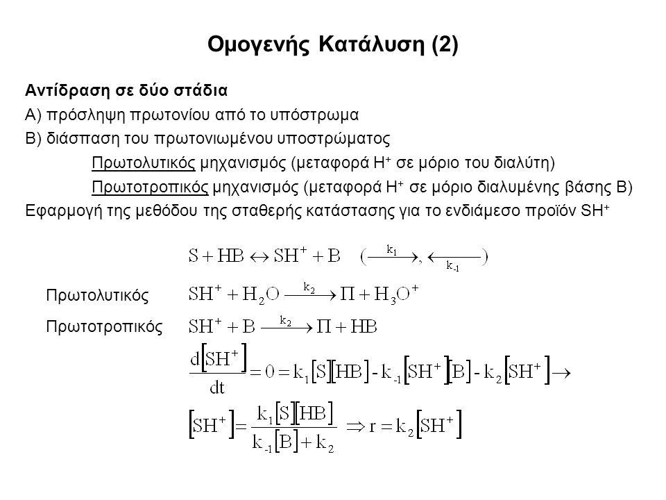 Ομογενής Κατάλυση (2) Αντίδραση σε δύο στάδια Α) πρόσληψη πρωτονίου από το υπόστρωμα Β) διάσπαση του πρωτονιωμένου υποστρώματος Πρωτολυτικός μηχανισμός (μεταφορά Η + σε μόριο του διαλύτη) Πρωτοτροπικός μηχανισμός (μεταφορά Η + σε μόριο διαλυμένης βάσης Β) Εφαρμογή της μεθόδου της σταθερής κατάστασης για το ενδιάμεσο προϊόν SH + Πρωτολυτικός Πρωτοτροπικός
