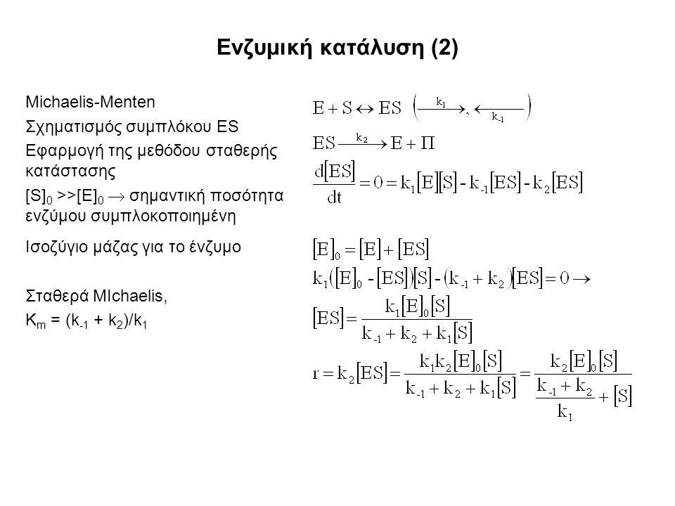 Ενζυμική κατάλυση (2) Michaelis-Menten Σχηματισμός συμπλόκου ES Εφαρμογή της μεθόδου σταθερής κατάστασης [S] 0 >>[E] 0  σημαντική ποσότητα ενζύμου συμπλοκοποιημένη Ισοζύγιο μάζας για το ένζυμο Σταθερά MIchaelis, K m = (k -1 + k 2 )/k 1
