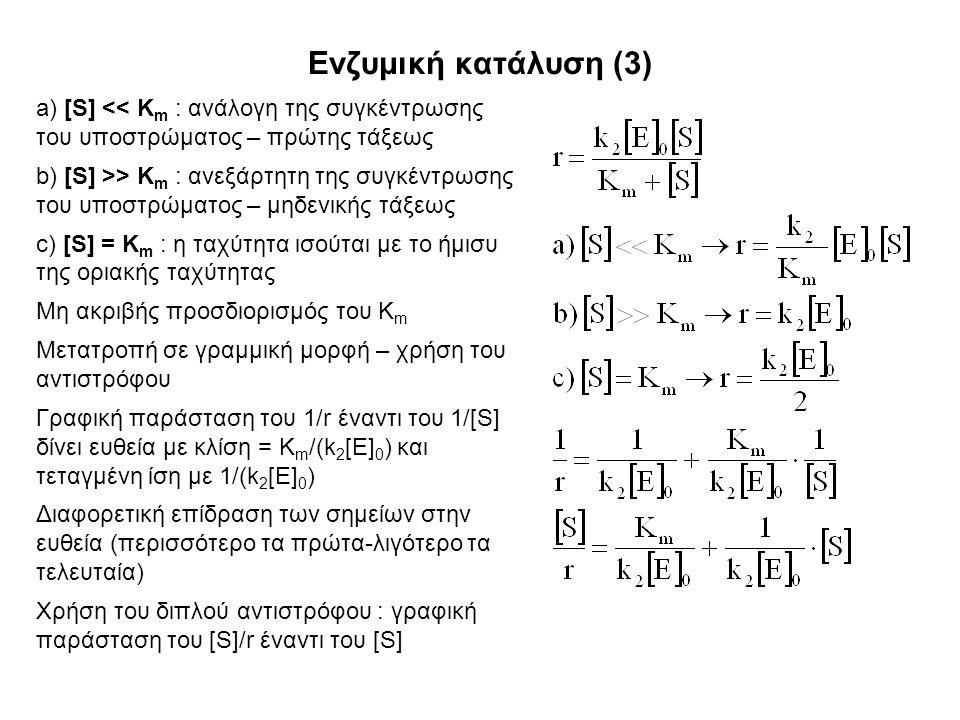 Ενζυμική κατάλυση (3) a) [S] << K m : ανάλογη της συγκέντρωσης του υποστρώματος – πρώτης τάξεως b) [S] >> K m : ανεξάρτητη της συγκέντρωσης του υποστρώματος – μηδενικής τάξεως c) [S] = K m : η ταχύτητα ισούται με το ήμισυ της οριακής ταχύτητας Μη ακριβής προσδιορισμός του K m Μετατροπή σε γραμμική μορφή – χρήση του αντιστρόφου Γραφική παράσταση του 1/r έναντι του 1/[S] δίνει ευθεία με κλίση = K m /(k 2 [E] 0 ) και τεταγμένη ίση με 1/(k 2 [E] 0 ) Διαφορετική επίδραση των σημείων στην ευθεία (περισσότερο τα πρώτα-λιγότερο τα τελευταία) Χρήση του διπλού αντιστρόφου : γραφική παράσταση του [S]/r έναντι του [S]