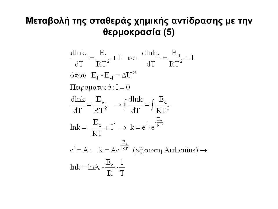 Μεταβολή της σταθεράς χημικής αντίδρασης με την θερμοκρασία (5)