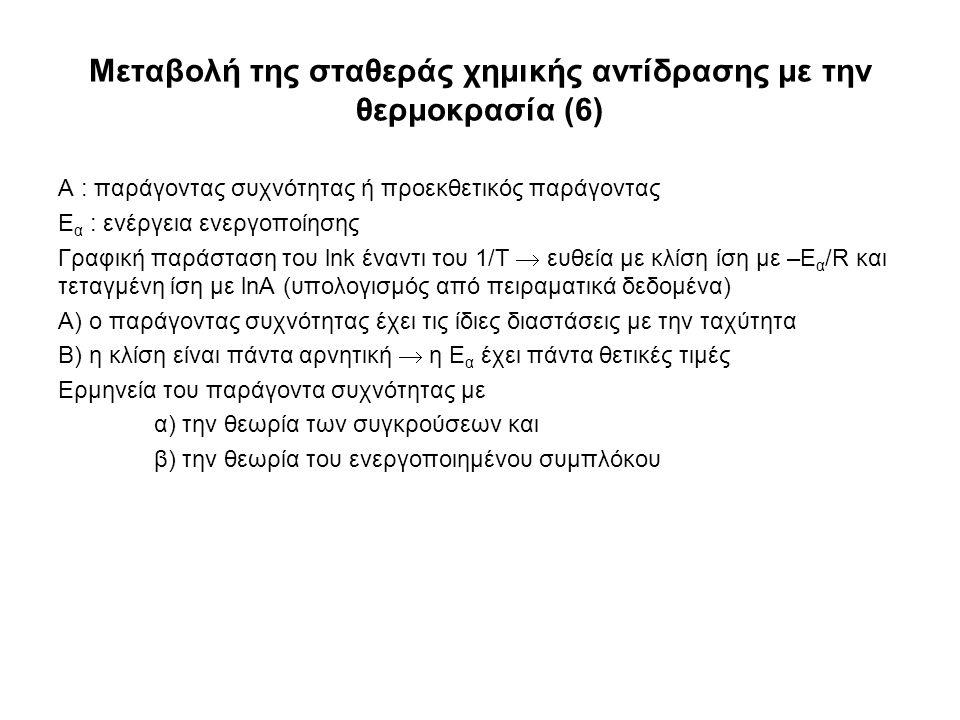 Μεταβολή της σταθεράς χημικής αντίδρασης με την θερμοκρασία (6) A : παράγοντας συχνότητας ή προεκθετικός παράγοντας Ε α : ενέργεια ενεργοποίησης Γραφική παράσταση του lnk έναντι του 1/T  ευθεία με κλίση ίση με –Ε α /R και τεταγμένη ίση με lnA (υπολογισμός από πειραματικά δεδομένα) Α) ο παράγοντας συχνότητας έχει τις ίδιες διαστάσεις με την ταχύτητα Β) η κλίση είναι πάντα αρνητική  η Ε α έχει πάντα θετικές τιμές Ερμηνεία του παράγοντα συχνότητας με α) την θεωρία των συγκρούσεων και β) την θεωρία του ενεργοποιημένου συμπλόκου