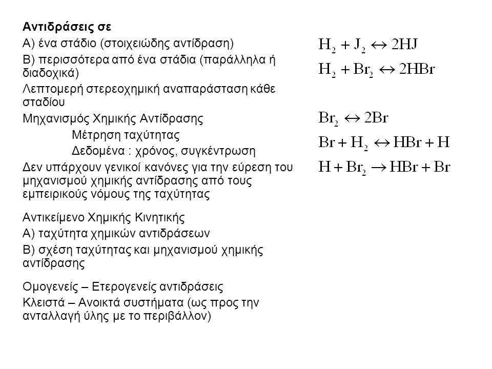 Αντιδράσεις σε Α) ένα στάδιο (στοιχειώδης αντίδραση) Β) περισσότερα από ένα στάδια (παράλληλα ή διαδοχικά) Λεπτομερή στερεοχημική αναπαράσταση κάθε σταδίου Μηχανισμός Χημικής Αντίδρασης Μέτρηση ταχύτητας Δεδομένα : χρόνος, συγκέντρωση Δεν υπάρχουν γενικοί κανόνες για την εύρεση του μηχανισμού χημικής αντίδρασης από τους εμπειρικούς νόμους της ταχύτητας Αντικείμενο Χημικής Κινητικής Α) ταχύτητα χημικών αντιδράσεων Β) σχέση ταχύτητας και μηχανισμού χημικής αντίδρασης Ομογενείς – Ετερογενείς αντιδράσεις Κλειστά – Ανοικτά συστήματα (ως προς την ανταλλαγή ύλης με το περιβάλλον)