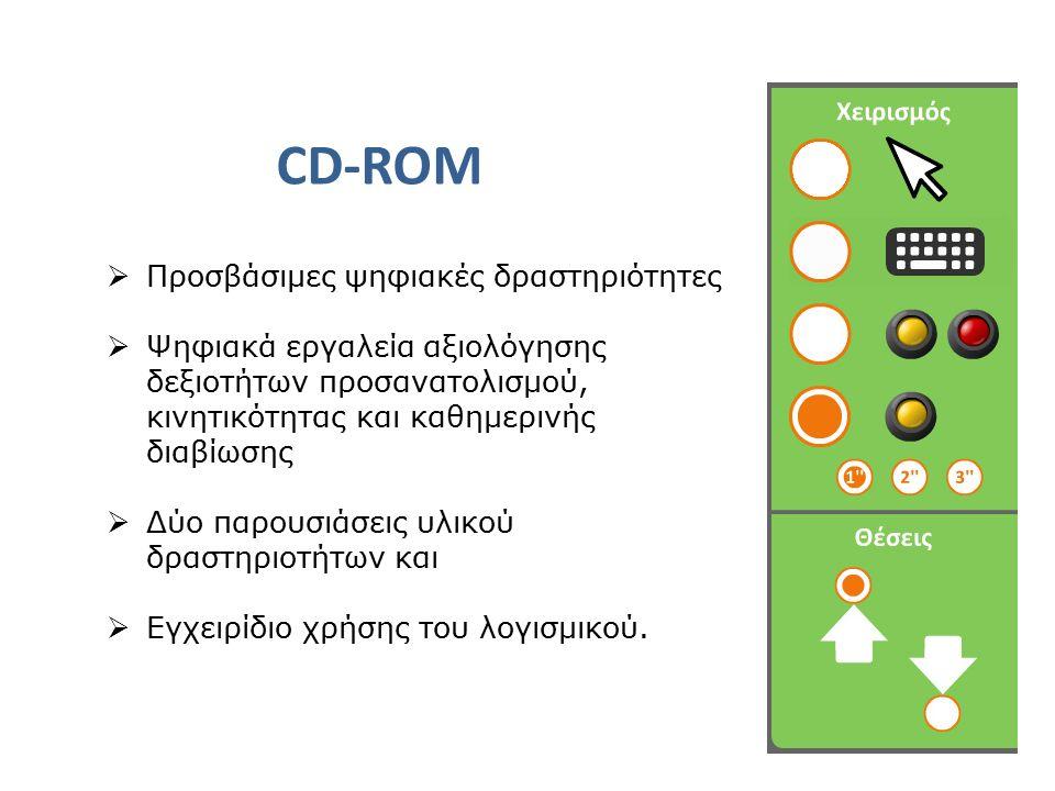 CD-ROM  Προσβάσιμες ψηφιακές δραστηριότητες  Ψηφιακά εργαλεία αξιολόγησης δεξιοτήτων προσανατολισμού, κινητικότητας και καθημερινής διαβίωσης  Δύο παρουσιάσεις υλικού δραστηριοτήτων και  Εγχειρίδιο χρήσης του λογισμικού.