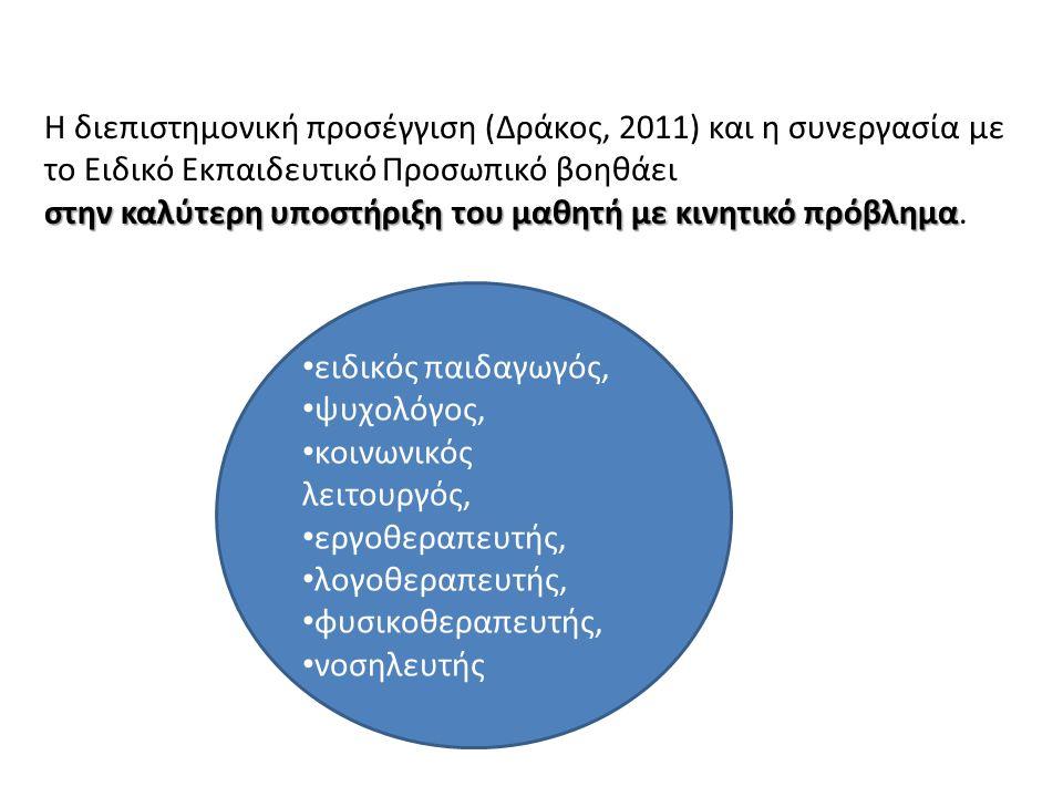 H διεπιστημονική προσέγγιση (Δράκος, 2011) και η συνεργασία με το Ειδικό Εκπαιδευτικό Προσωπικό βοηθάει στην καλύτερη υποστήριξη του μαθητή με κινητικό πρόβλημα στην καλύτερη υποστήριξη του μαθητή με κινητικό πρόβλημα.