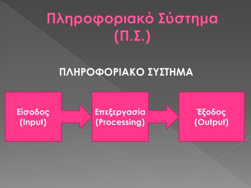 ΠΛΗΡΟΦΟΡΙΑΚΟ ΣΥΣΤΗΜΑ Είσοδος (Input) Επεξεργασία (Processing) Έξοδος (Output)