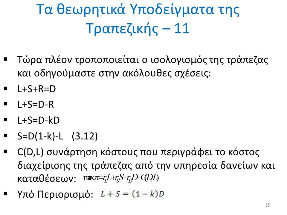 Τα θεωρητικά Υποδείγματα της Τραπεζικής – 11  Τώρα πλέον τροποποιείται ο ισολογισμός της τράπεζας και οδηγούμαστε στην ακόλουθες σχέσεις:  L+S+R=D  L+S=D-R  L+S=D-kD  S=D(1-k)-L (3.12)  C(D,L) συνάρτηση κόστους που περιγράφει το κόστος διαχείρισης της τράπεζας από την υπηρεσία δανείων και καταθέσεων:  Υπό Περιορισμό: 15
