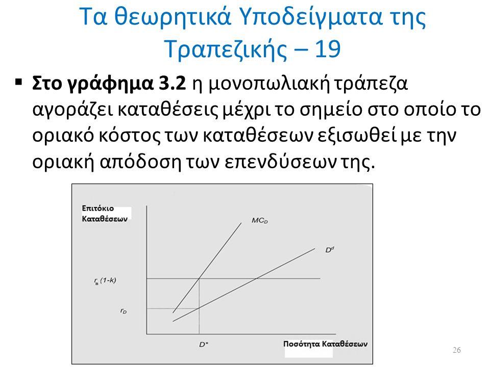 Τα θεωρητικά Υποδείγματα της Τραπεζικής – 19  Στο γράφημα 3.2 η μονοπωλιακή τράπεζα αγοράζει καταθέσεις μέχρι το σημείο στο οποίο το οριακό κόστος των καταθέσεων εξισωθεί με την οριακή απόδοση των επενδύσεων της.