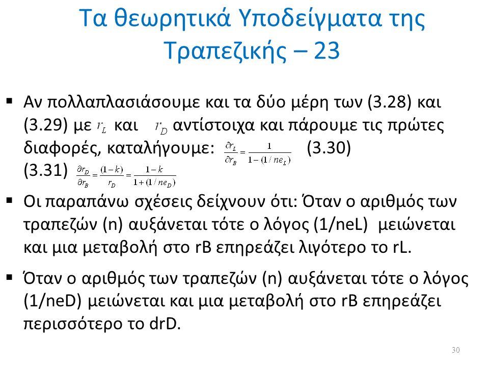 Τα θεωρητικά Υποδείγματα της Τραπεζικής – 23  Αν πολλαπλασιάσουμε και τα δύο μέρη των (3.28) και (3.29) με και αντίστοιχα και πάρουμε τις πρώτες διαφορές, καταλήγουμε: (3.30) (3.31)  Οι παραπάνω σχέσεις δείχνουν ότι: Όταν ο αριθμός των τραπεζών (n) αυξάνεται τότε ο λόγος (1/neL) μειώνεται και μια μεταβολή στο rB επηρεάζει λιγότερο το rL.