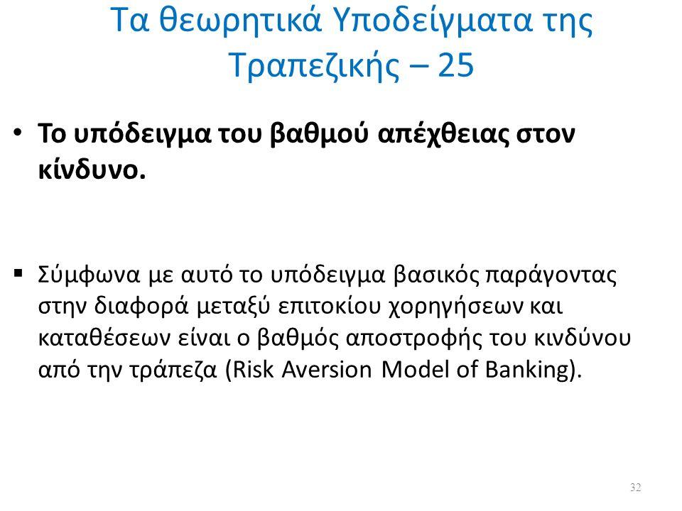 Τα θεωρητικά Υποδείγματα της Τραπεζικής – 25 Το υπόδειγμα του βαθμού απέχθειας στον κίνδυνο.