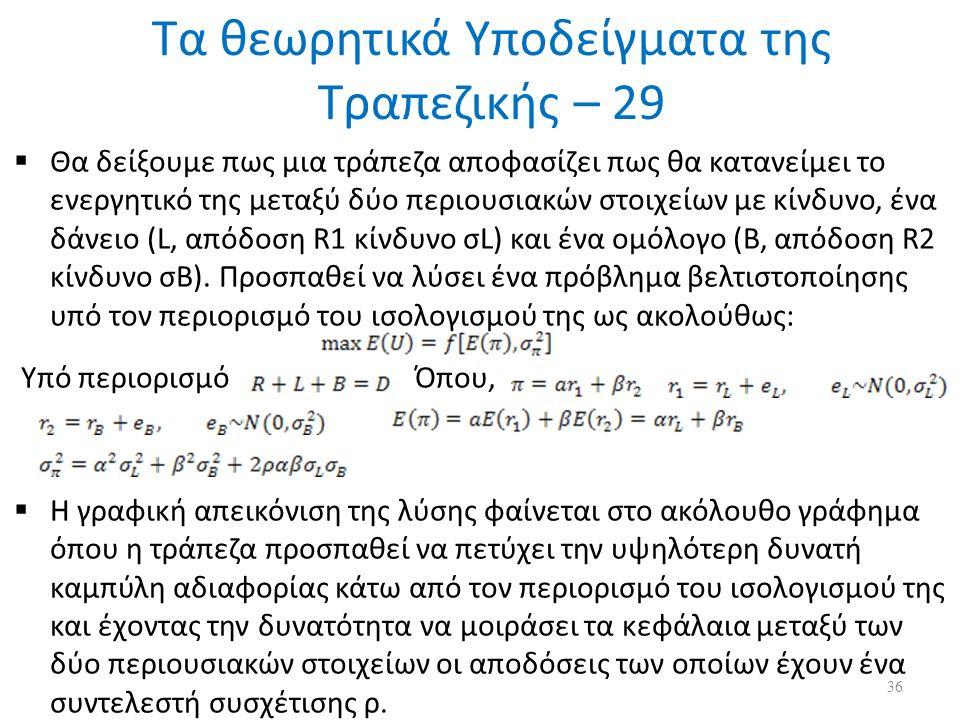 Τα θεωρητικά Υποδείγματα της Τραπεζικής – 29  Θα δείξουμε πως μια τράπεζα αποφασίζει πως θα κατανείμει το ενεργητικό της μεταξύ δύο περιουσιακών στοιχείων με κίνδυνο, ένα δάνειο (L, απόδοση R1 κίνδυνο σL) και ένα ομόλογο (B, απόδοση R2 κίνδυνο σB).
