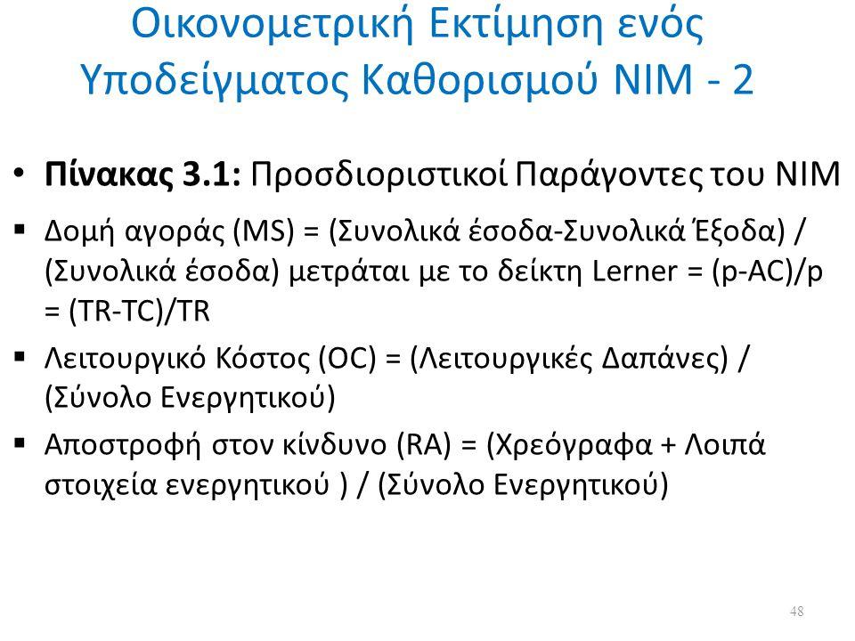 Οικονομετρική Εκτίμηση ενός Υποδείγματος Καθορισμού ΝΙΜ - 2 Πίνακας 3.1: Προσδιοριστικοί Παράγοντες του ΝΙΜ  Δομή αγοράς (MS) = (Συνολικά έσοδα-Συνολικά Έξοδα) / (Συνολικά έσοδα) μετράται με το δείκτη Lerner = (p-AC)/p = (TR-TC)/TR  Λειτουργικό Κόστος (OC) = (Λειτουργικές Δαπάνες) / (Σύνολο Ενεργητικού)  Αποστροφή στον κίνδυνο (RA) = (Χρεόγραφα + Λοιπά στοιχεία ενεργητικού ) / (Σύνολο Ενεργητικού) 48