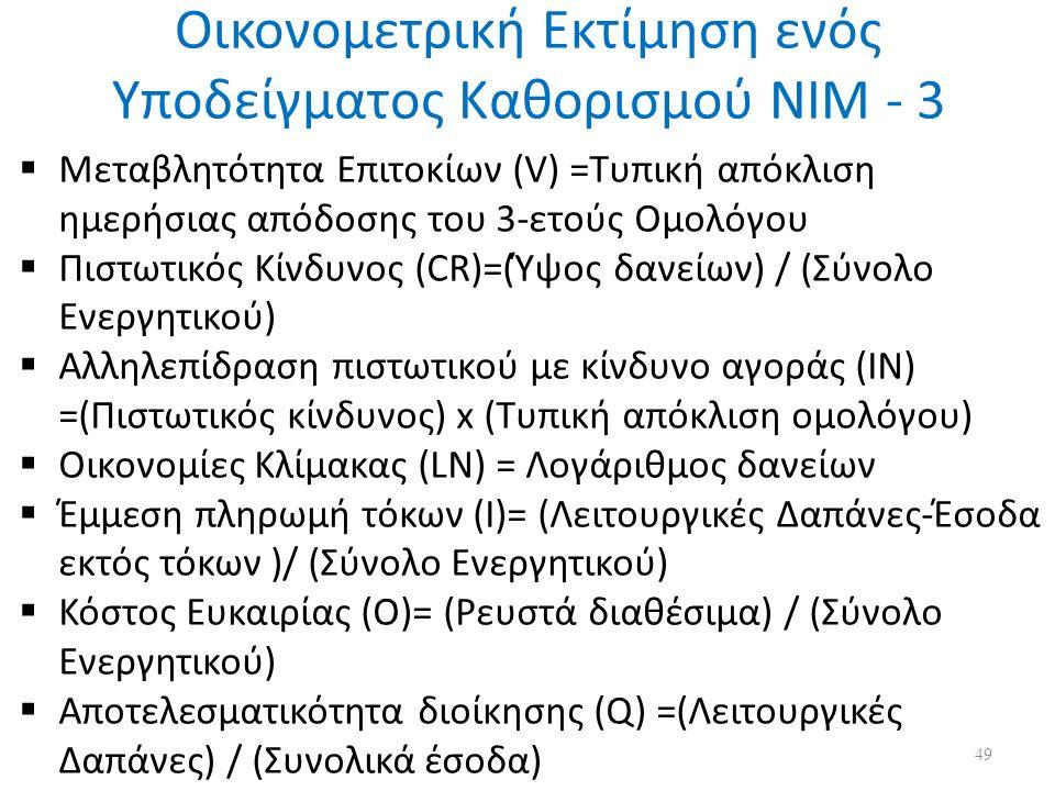 Οικονομετρική Εκτίμηση ενός Υποδείγματος Καθορισμού ΝΙΜ - 3  Μεταβλητότητα Επιτοκίων (V) =Τυπική απόκλιση ημερήσιας απόδοσης του 3-ετούς Ομολόγου  Πιστωτικός Κίνδυνος (CR)=(Ύψος δανείων) / (Σύνολο Ενεργητικού)  Αλληλεπίδραση πιστωτικού με κίνδυνο αγοράς (ΙΝ) =(Πιστωτικός κίνδυνος) x (Τυπική απόκλιση ομολόγου)  Οικονομίες Κλίμακας (LN) = Λογάριθμος δανείων  Έμμεση πληρωμή τόκων (Ι)= (Λειτουργικές Δαπάνες-Έσοδα εκτός τόκων )/ (Σύνολο Ενεργητικού)  Κόστος Ευκαιρίας (O)= (Ρευστά διαθέσιμα) / (Σύνολο Ενεργητικού)  Αποτελεσματικότητα διοίκησης (Q) =(Λειτουργικές Δαπάνες) / (Συνολικά έσοδα) 49