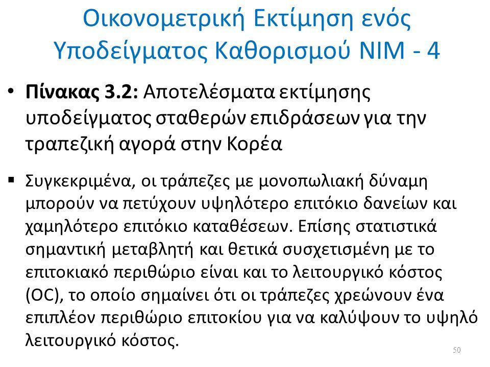 Οικονομετρική Εκτίμηση ενός Υποδείγματος Καθορισμού ΝΙΜ - 4 Πίνακας 3.2: Αποτελέσματα εκτίμησης υποδείγματος σταθερών επιδράσεων για την τραπεζική αγορά στην Κορέα  Συγκεκριμένα, οι τράπεζες με μονοπωλιακή δύναμη μπορούν να πετύχουν υψηλότερο επιτόκιο δανείων και χαμηλότερο επιτόκιο καταθέσεων.