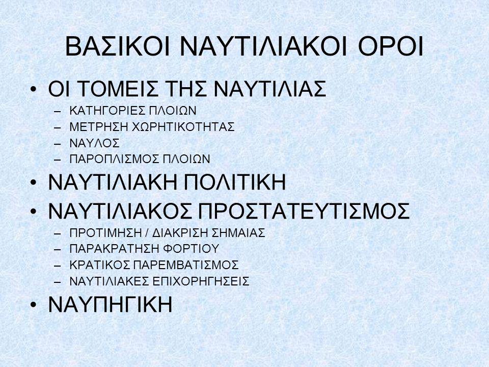ΒΑΣΙΚΟΙ ΝΑΥΤΙΛΙΑΚΟΙ ΟΡΟΙ ΟΙ ΤΟΜΕΙΣ ΤΗΣ ΝΑΥΤΙΛΙΑΣ –ΚΑΤΗΓΟΡΙΕΣ ΠΛΟΙΩΝ –ΜΕΤΡΗΣΗ ΧΩΡΗΤΙΚΟΤΗΤΑΣ –ΝΑΥΛΟΣ –ΠΑΡΟΠΛΙΣΜΟΣ ΠΛΟΙΩΝ ΝΑΥΤΙΛΙΑΚΗ ΠΟΛΙΤΙΚΗ ΝΑΥΤΙΛΙΑΚΟΣ ΠΡΟΣΤΑΤΕΥΤΙΣΜΟΣ –ΠΡΟΤΙΜΗΣΗ / ΔΙΑΚΡΙΣΗ ΣΗΜΑΙΑΣ –ΠΑΡΑΚΡΑΤΗΣΗ ΦΟΡΤΙΟΥ –ΚΡΑΤΙΚΟΣ ΠΑΡΕΜΒΑΤΙΣΜΟΣ –ΝΑΥΤΙΛΙΑΚΕΣ ΕΠΙΧΟΡΗΓΗΣΕΙΣ ΝΑΥΠΗΓΙΚΗ