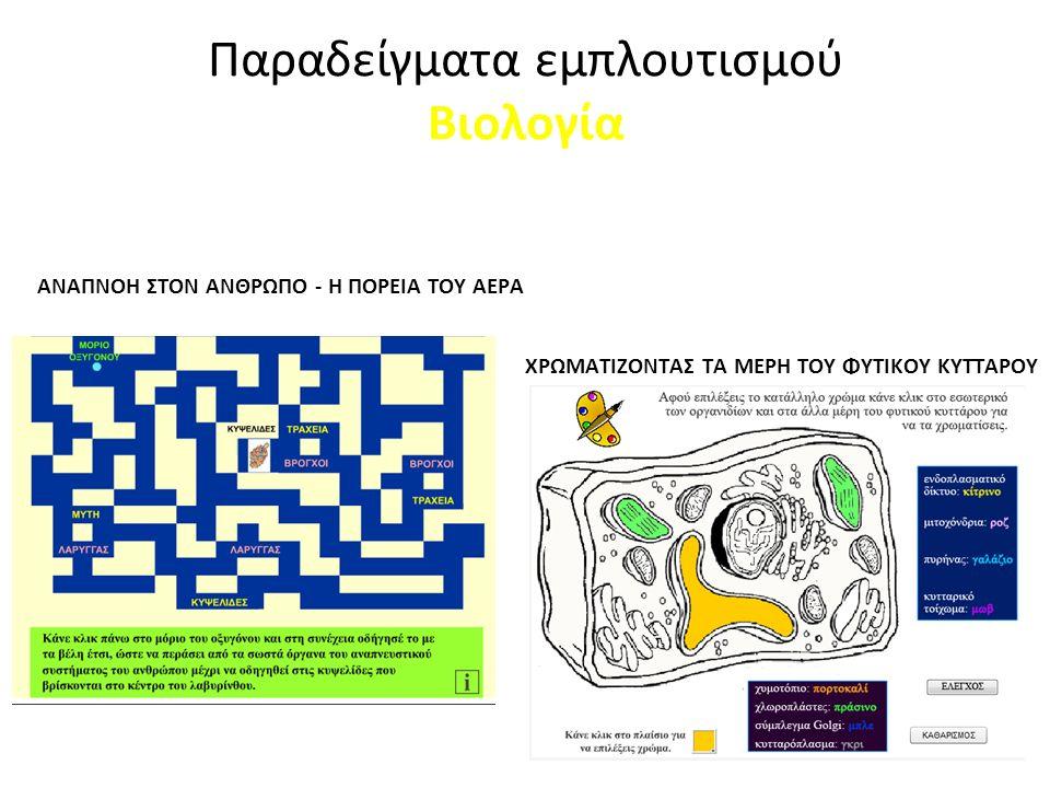 Εκπαιδευτικά παιχνίδια ΑΝΑΠΝΟΗ ΣΤΟΝ ΑΝΘΡΩΠΟ - Η ΠΟΡΕΙΑ ΤΟΥ ΑΕΡΑ ΧΡΩΜΑΤΙΖΟΝΤΑΣ ΤΑ ΜΕΡΗ ΤΟΥ ΦΥΤΙΚΟΥ ΚΥΤΤΑΡΟΥ Παραδείγματα εμπλουτισμού Βιολογία