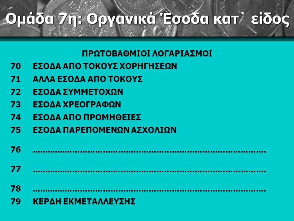 Ομάδα 7η: Οργανικά Έσοδα κατ` είδος ΠΡΩΤΟΒΑΘΜΙΟΙ ΛΟΓΑΡΙΑΣΜΟΙ 70ΕΣΟΔΑ ΑΠΟ ΤΟΚΟΥΣ ΧΟΡΗΓΗΣΕΩΝ 71ΑΛΛΑ ΕΣΟΔΑ ΑΠΟ ΤΟΚΟΥΣ 72ΕΣΟΔΑ ΣΥΜΜΕΤΟΧΩΝ 73ΕΣΟΔΑ ΧΡΕΟΓΡΑΦΩΝ 74ΕΣΟΔΑ ΑΠΟ ΠΡΟΜΗΘΕΙΕΣ 75ΕΣΟΔΑ ΠΑΡΕΠΟΜΕΝΩΝ ΑΣΧΟΛΙΩΝ 76............................................................................................