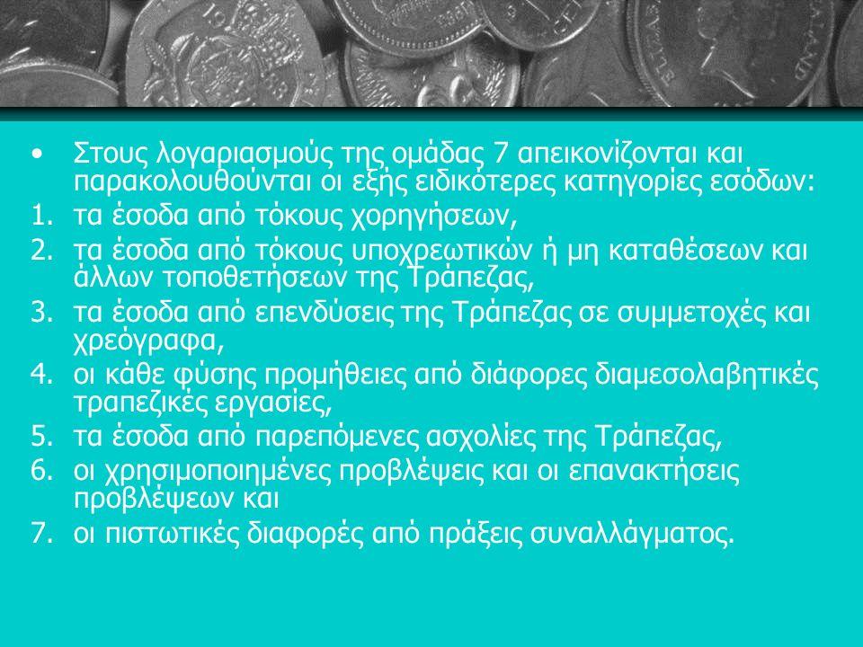 Στους λογαριασμούς της ομάδας 7 απεικονίζονται και παρακολουθούνται οι εξής ειδικότερες κατηγορίες εσόδων: 1.τα έσοδα από τόκους χορηγήσεων, 2.τα έσοδα από τόκους υποχρεωτικών ή μη καταθέσεων και άλλων τοποθετήσεων της Τράπεζας, 3.τα έσοδα από επενδύσεις της Τράπεζας σε συμμετοχές και χρεόγραφα, 4.οι κάθε φύσης προμήθειες από διάφορες διαμεσολαβητικές τραπεζικές εργασίες, 5.τα έσοδα από παρεπόμενες ασχολίες της Τράπεζας, 6.οι χρησιμοποιημένες προβλέψεις και οι επανακτήσεις προβλέψεων και 7.οι πιστωτικές διαφορές από πράξεις συναλλάγματος.