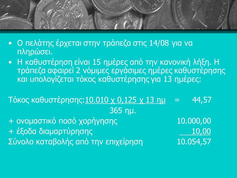 Ο πελάτης έρχεται στην τράπεζα στις 14/08 για να πληρώσει.