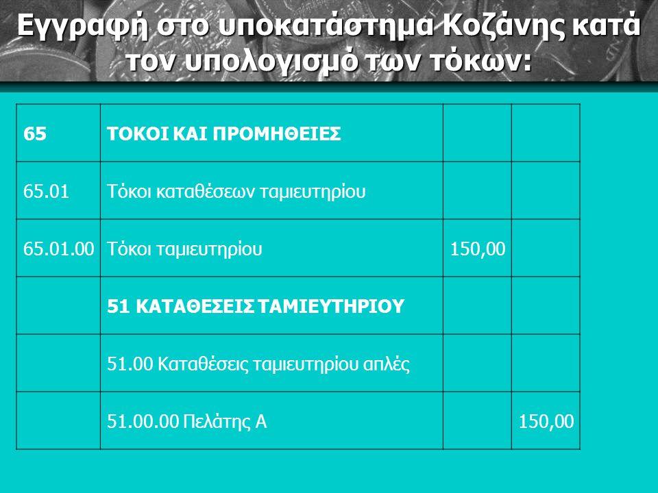 Εγγραφή στο υποκατάστημα Κοζάνης κατά τον υπολογισμό των τόκων: 65ΤΟΚΟΙ ΚΑΙ ΠΡΟΜΗΘΕΙΕΣ 65.01Τόκοι καταθέσεων ταμιευτηρίου 65.01.00Τόκοι ταμιευτηρίου150,00 51 ΚΑΤΑΘΕΣΕΙΣ ΤΑΜΙΕΥΤΗΡΙΟΥ 51.00 Καταθέσεις ταμιευτηρίου απλές 51.00.00 Πελάτης Α150,00