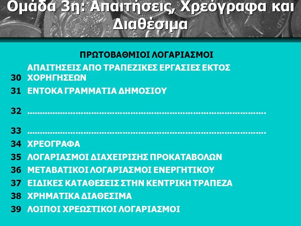 Ομάδα 3η: Απαιτήσεις, Χρεόγραφα και Διαθέσιμα ΠΡΩΤΟΒΑΘΜΙΟΙ ΛΟΓΑΡΙΑΣΜΟΙ 30 ΑΠΑΙΤΗΣΕΙΣ ΑΠΟ ΤΡΑΠΕΖΙΚΕΣ ΕΡΓΑΣΙΕΣ ΕΚΤΟΣ ΧΟΡΗΓΗΣΕΩΝ 31ΕΝΤΟΚΑ ΓΡΑΜΜΑΤΙΑ ΔΗΜΟΣΙΟΥ 32............................................................................................