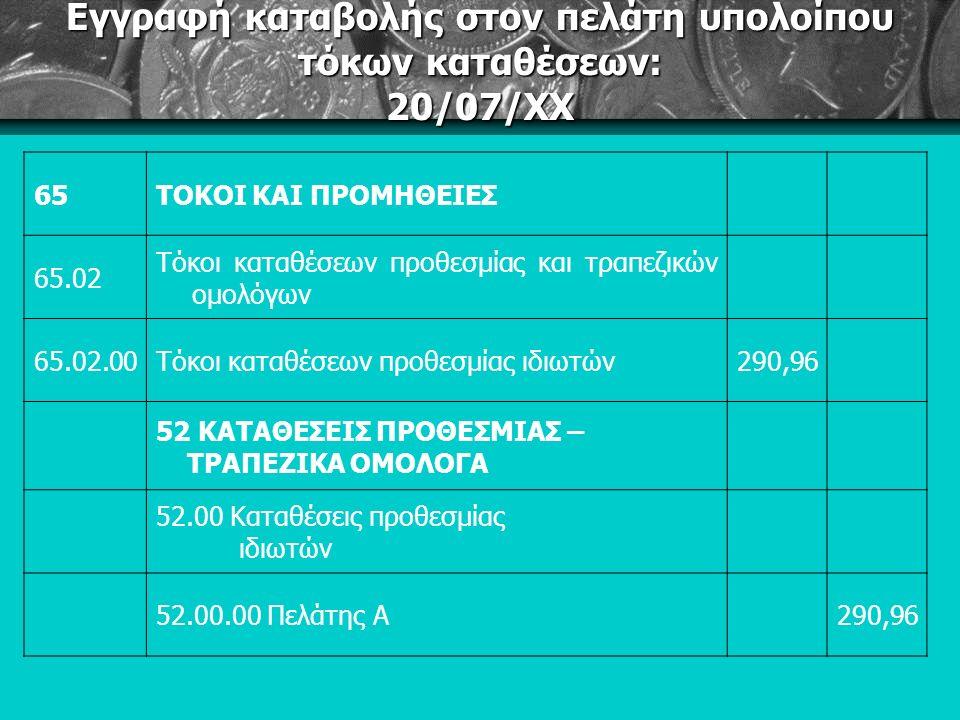 Εγγραφή καταβολής στον πελάτη υπολοίπου τόκων καταθέσεων: 20/07/ΧΧ 65ΤΟΚΟΙ ΚΑΙ ΠΡΟΜΗΘΕΙΕΣ 65.02 Τόκοι καταθέσεων προθεσμίας και τραπεζικών ομολόγων 65.02.00Τόκοι καταθέσεων προθεσμίας ιδιωτών290,96 52 ΚΑΤΑΘΕΣΕΙΣ ΠΡΟΘΕΣΜΙΑΣ – ΤΡΑΠΕΖΙΚΑ ΟΜΟΛΟΓΑ 52.00 Καταθέσεις προθεσμίας ιδιωτών 52.00.00 Πελάτης Α290,96