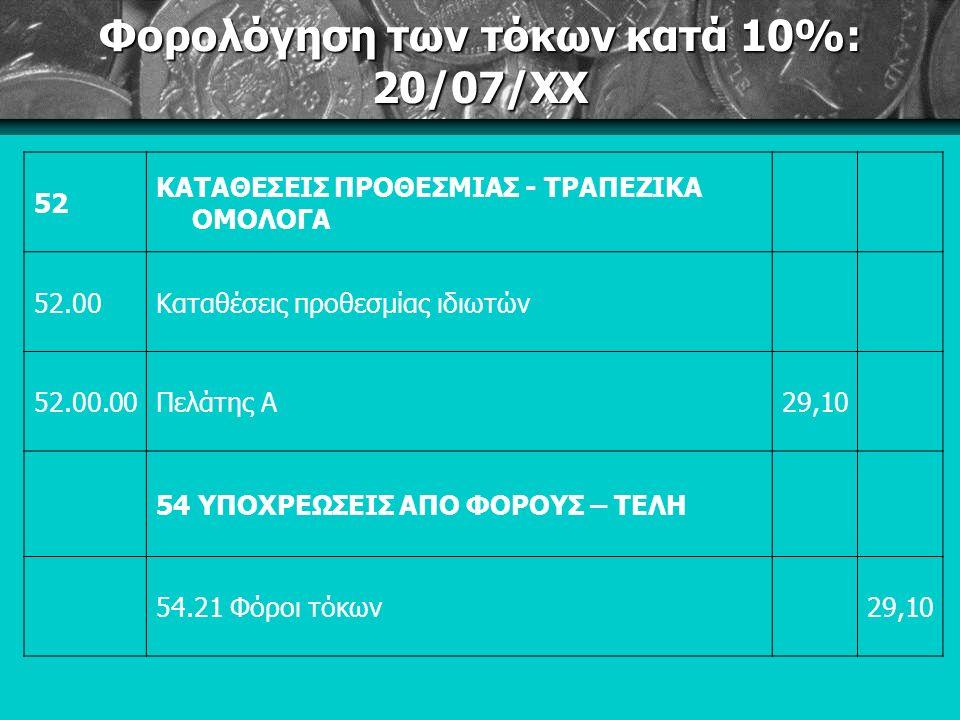 Φορολόγηση των τόκων κατά 10%: 20/07/ΧΧ 52 ΚΑΤΑΘΕΣΕΙΣ ΠΡΟΘΕΣΜΙΑΣ - ΤΡΑΠΕΖΙΚΑ ΟΜΟΛΟΓΑ 52.00Καταθέσεις προθεσμίας ιδιωτών 52.00.00Πελάτης Α29,10 54 ΥΠΟΧΡΕΩΣΕΙΣ ΑΠΟ ΦΟΡΟΥΣ – ΤΕΛΗ 54.21 Φόροι τόκων29,10