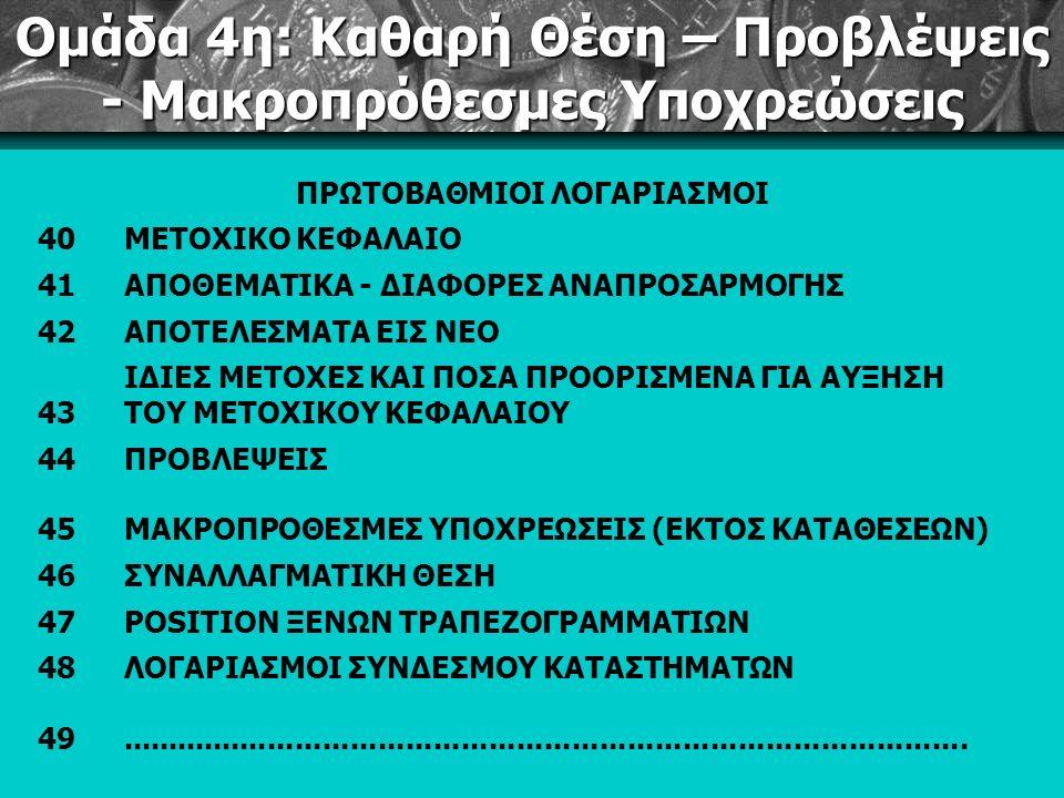 Ομάδα 4η: Καθαρή Θέση – Προβλέψεις - Μακροπρόθεσμες Υποχρεώσεις ΠΡΩΤΟΒΑΘΜΙΟΙ ΛΟΓΑΡΙΑΣΜΟΙ 40ΜΕΤΟΧΙΚΟ ΚΕΦΑΛΑΙΟ 41ΑΠΟΘΕΜΑΤΙΚΑ - ΔΙΑΦΟΡΕΣ ΑΝΑΠΡΟΣΑΡΜΟΓΗΣ 42ΑΠΟΤΕΛΕΣΜΑΤΑ ΕΙΣ ΝΕΟ 43 ΙΔΙΕΣ ΜΕΤΟΧΕΣ ΚΑΙ ΠΟΣΑ ΠΡΟΟΡΙΣΜΕΝΑ ΓΙΑ ΑΥΞΗΣΗ ΤΟΥ ΜΕΤΟΧΙΚΟΥ ΚΕΦΑΛΑΙΟΥ 44ΠΡΟΒΛΕΨΕΙΣ 45ΜΑΚΡΟΠΡΟΘΕΣΜΕΣ ΥΠΟΧΡΕΩΣΕΙΣ (ΕΚΤΟΣ ΚΑΤΑΘΕΣΕΩΝ) 46ΣΥΝΑΛΛΑΓΜΑΤΙΚΗ ΘΕΣΗ 47POSITION ΞΕΝΩΝ ΤΡΑΠΕΖΟΓΡΑΜΜΑΤΙΩΝ 48ΛΟΓΑΡΙΑΣΜΟΙ ΣΥΝΔΕΣΜΟΥ ΚΑΤΑΣΤΗΜΑΤΩΝ 49............................................................................................