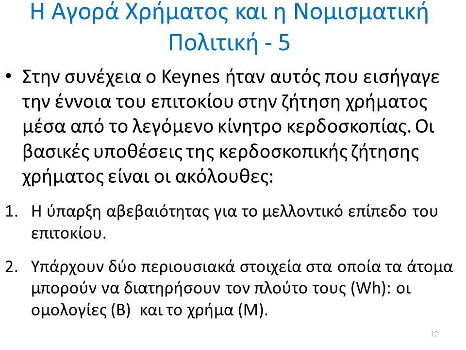 Η Αγορά Χρήματος και η Νομισματική Πολιτική - 5 Στην συνέχεια ο Keynes ήταν αυτός που εισήγαγε την έννοια του επιτοκίου στην ζήτηση χρήματος μέσα από το λεγόμενο κίνητρο κερδοσκοπίας.