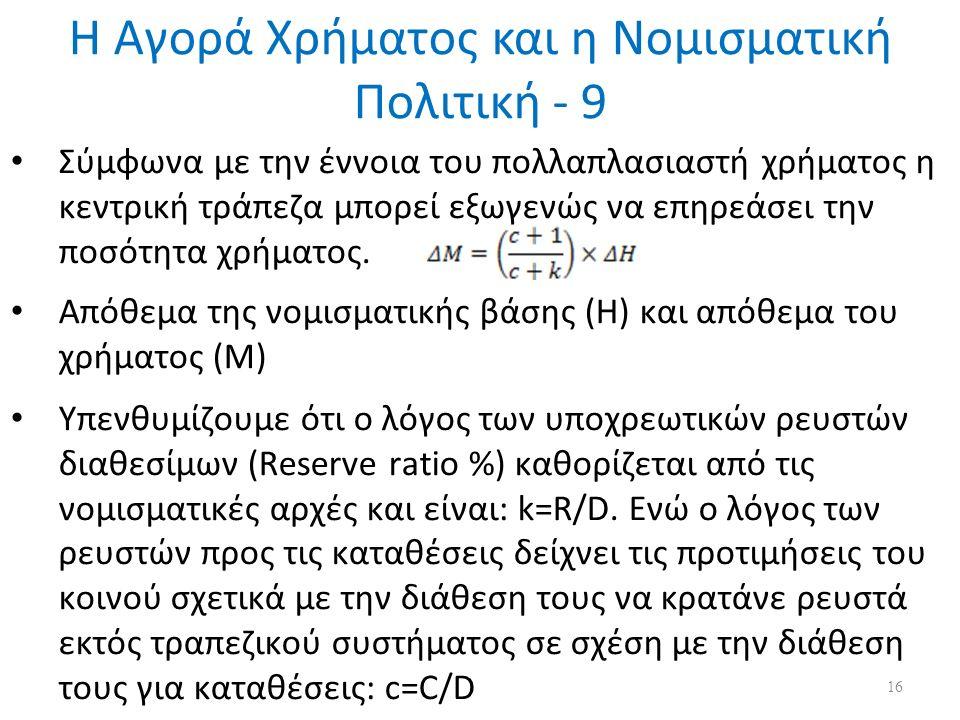 Η Αγορά Χρήματος και η Νομισματική Πολιτική - 9 Σύμφωνα με την έννοια του πολλαπλασιαστή χρήματος η κεντρική τράπεζα μπορεί εξωγενώς να επηρεάσει την ποσότητα χρήματος.